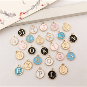 26pcs 12mm Round Gold Enamel Alphabet Charms Color Capital Letter Beads Initial Pendants Alloy Jewelry Making Accessories DIY