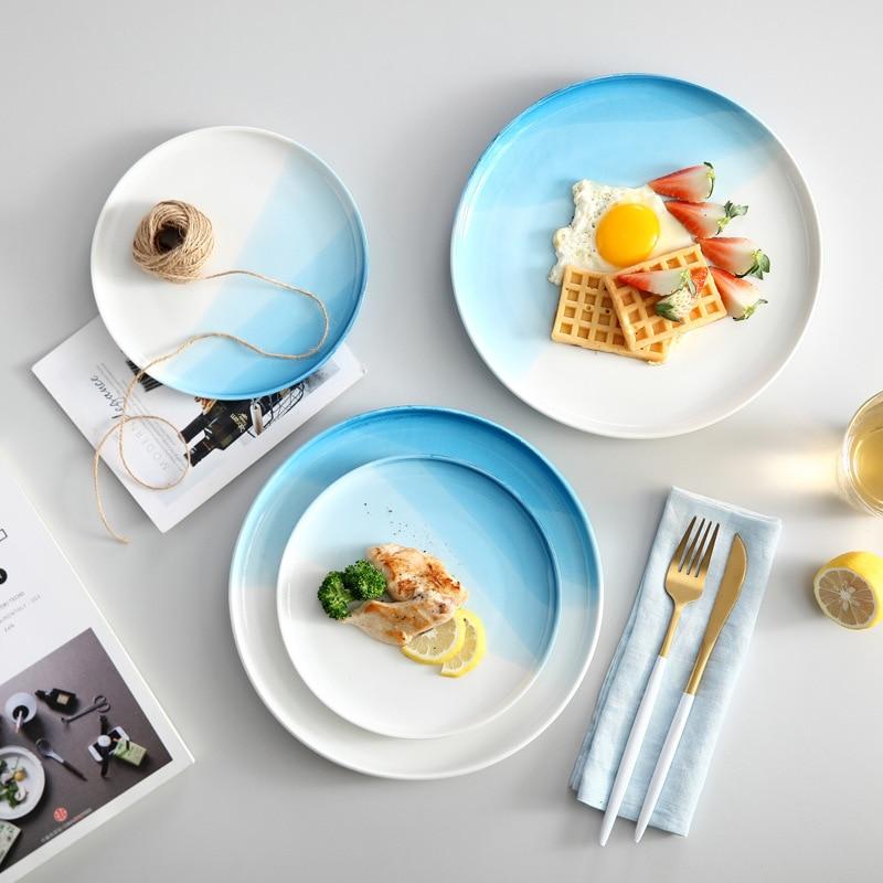 European Restaurant Western Food Plate Steak Plate Pasta Plate Blue Round Household Ceramic Plate Dinner Plate Flat Plate Tray