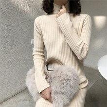 SD1754X-2019 robe tricotée, jupe longue en bas au début de lautomne, pull à moitié col haut en hiver, jupe à manches longues