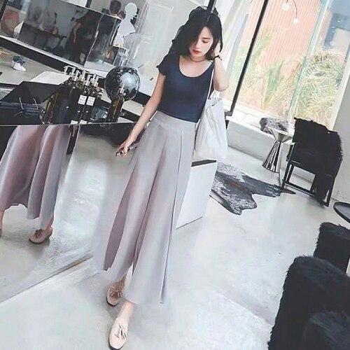 Korean 2019 Brief Twinset Chffion Loose Casual Ankle-length Pants Two Piece Set High Waist Vintage Terno Feminino 9pu