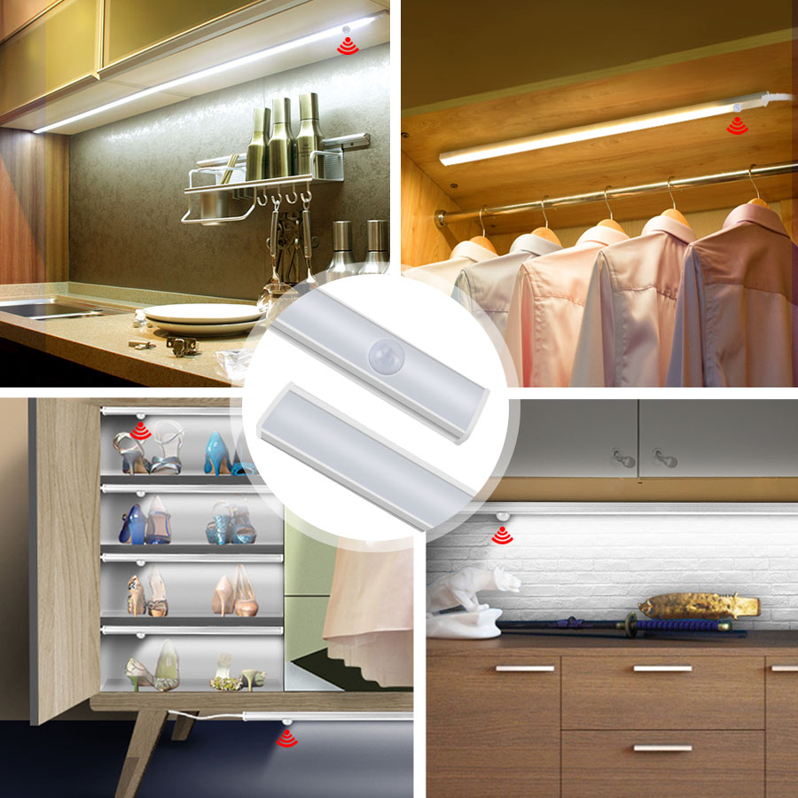LED DC 12V Under Cabinet Light Hand Sweep Switch Motion sensor Cabinet night light for For Bookcase Bedroom Closet Stairs luzled