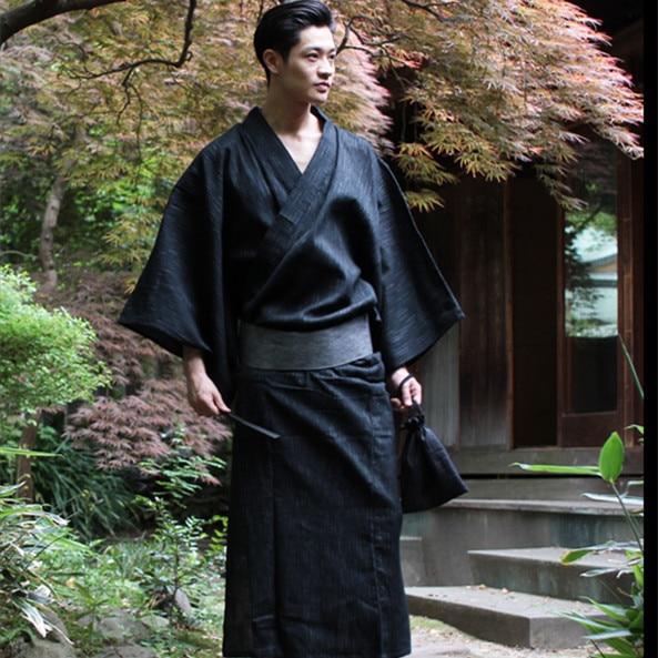 Traditional Japan Kimono Yukata Mens 95% Cotton Dressing Gown Male Lounge Robes with Belt Plus Size Summer Pajamas set A52801