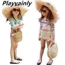 Girls Swimsuit Childrens Cute Long Sleeve Floral Flower 2pcs Set Korean Version Sun Proof Quick Dryi