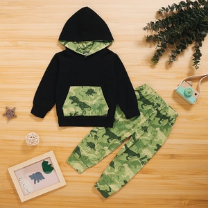 2-piece Baby / Toddler Dinosaur Splice Hooded Top and Pants Set