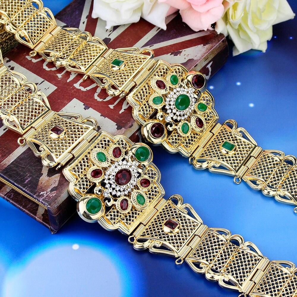 Sunspicems-حزام معدني كريستالي مغربي للنساء ، لون ذهبي ، مجوهرات عرقية ، سلسلة خصر قابلة للتعديل ، هدية زفاف