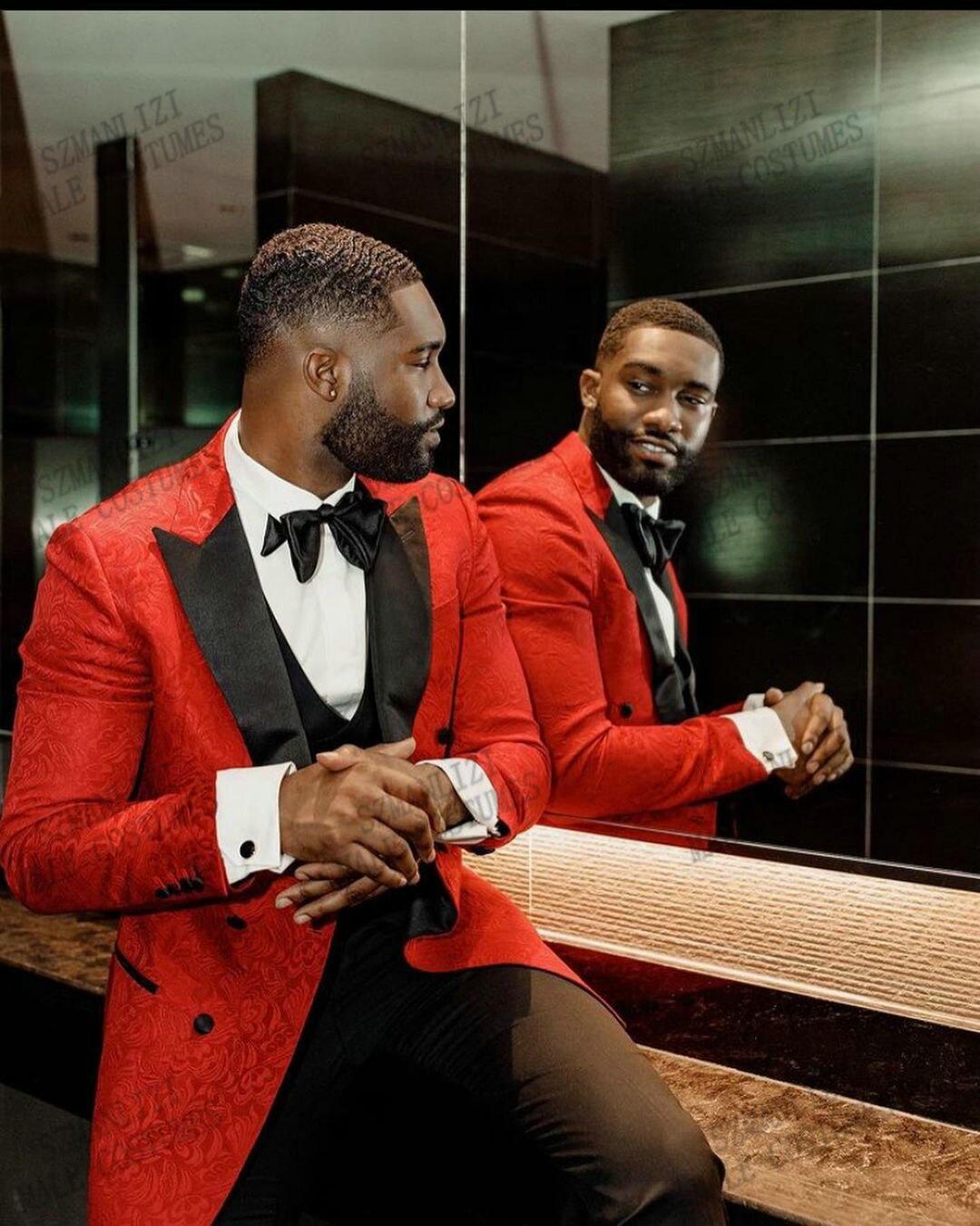 بدلة سهرة لحفلات الزفاف من 3 قطع بتصميم زهور حمراء موضة 2021 بصدر مزدوج بدلة رسمية للحفلات الراقصة للرجال بدلة أفضل رجل