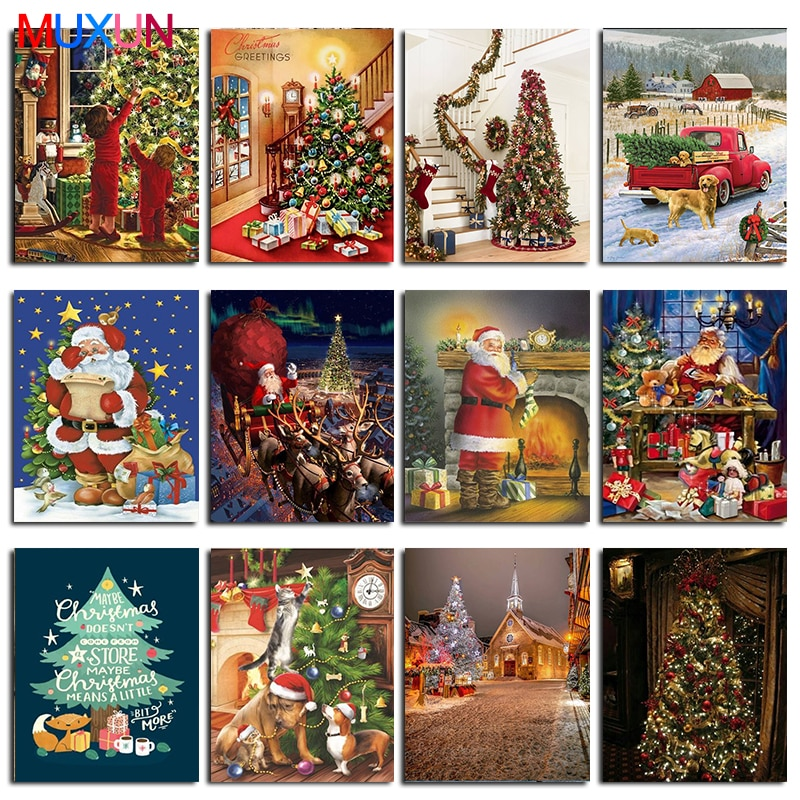 Diy 5D Diamond Painting Santa Claus Rhinestones Pictures 3D Diamond Embroidery Full Drill Mosaic Christmas Gift Wall Decor Lx719