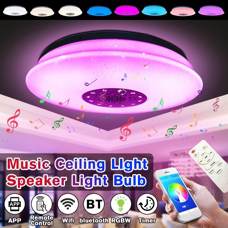 60W LED luz de techo a todo Color con bluetooth altavoz de música RGB regulable lámpara de techo de música moderna APP Control remoto