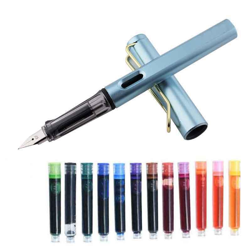 13 Pcs/lot coloré Sac à encre stylo plume ensemble stylo plume cartouches dencre recharges bleu noir dessin école fournitures de bureau