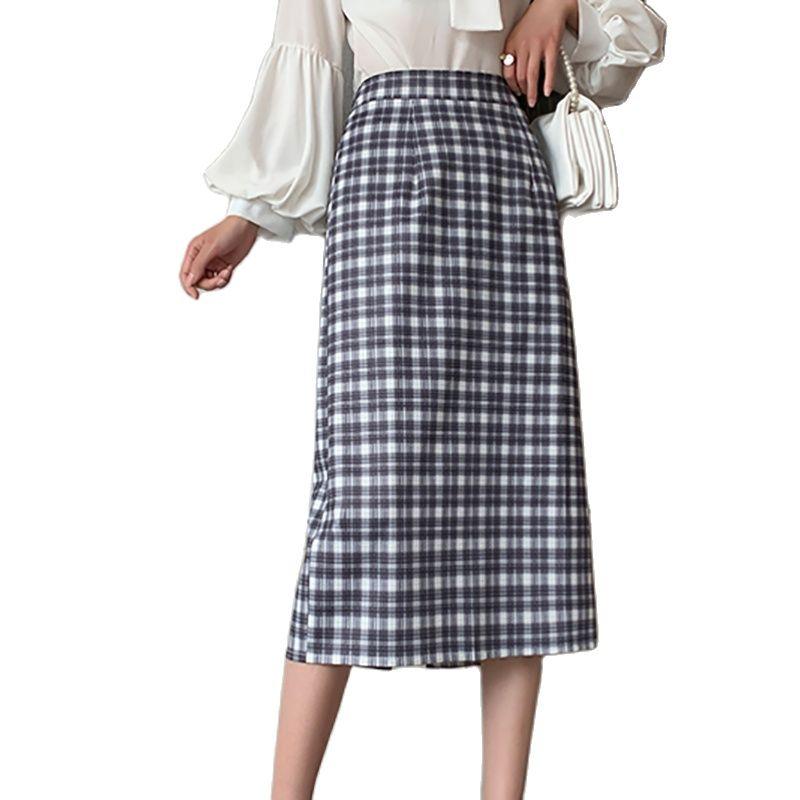 Plaid Skirt Japanese Harajuku Spring Summer Women Midi Skirt High Waist A-Line Female Korean Style Streetwear Elegant Skirts 2020 new korean style elegant split embroidered a line denim midi skirt korean harajuku skirt jean skirt denim skirt