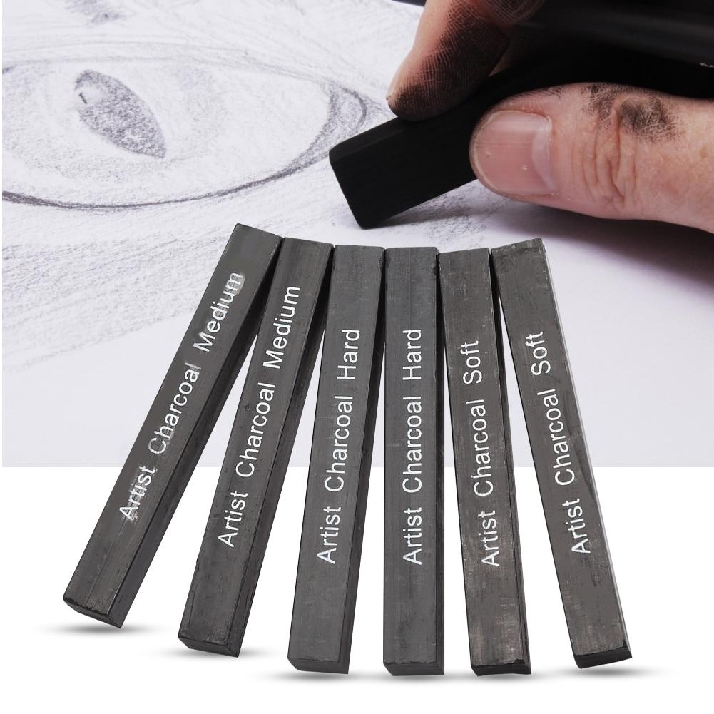 Soft/Medium/Hard 6Pcs Compressed Charcoal Sticks Black Square Graphite Drawing Pencil Art Suppl