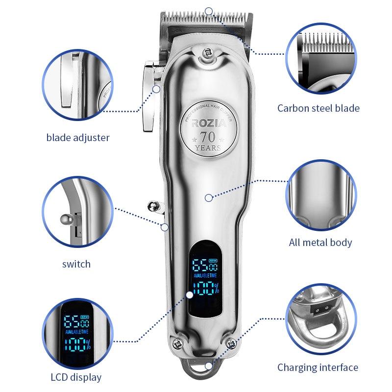 IRUI All-metal Barber Professional Hair Clipper Electric Cordless LCD Hair Trimmer Silver Hair Cutting Machine Mower enlarge