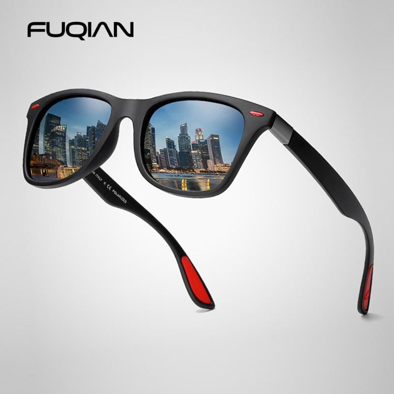 FUQIAN Hot Sale Polarized Sunglasses Men Women Classic Square Plastic Driving Sun Glasses Male Fashi