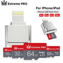 Мини-кардридер OTG Usb флэш-накопитель 16 ГБ, 32 ГБ, 64 ГБ, 128 ГБ для iphone, ipad, планшета, телефона, флэш-накопитель lightning, Usb-флешка, устройства iOS