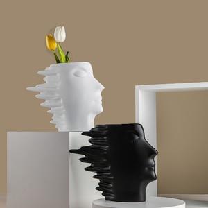 Creative Resin Figurine Human Face Flower Pot Vase Pen Holder Home Decoration Art Sculpture Living Room Decor Accessories Crafts