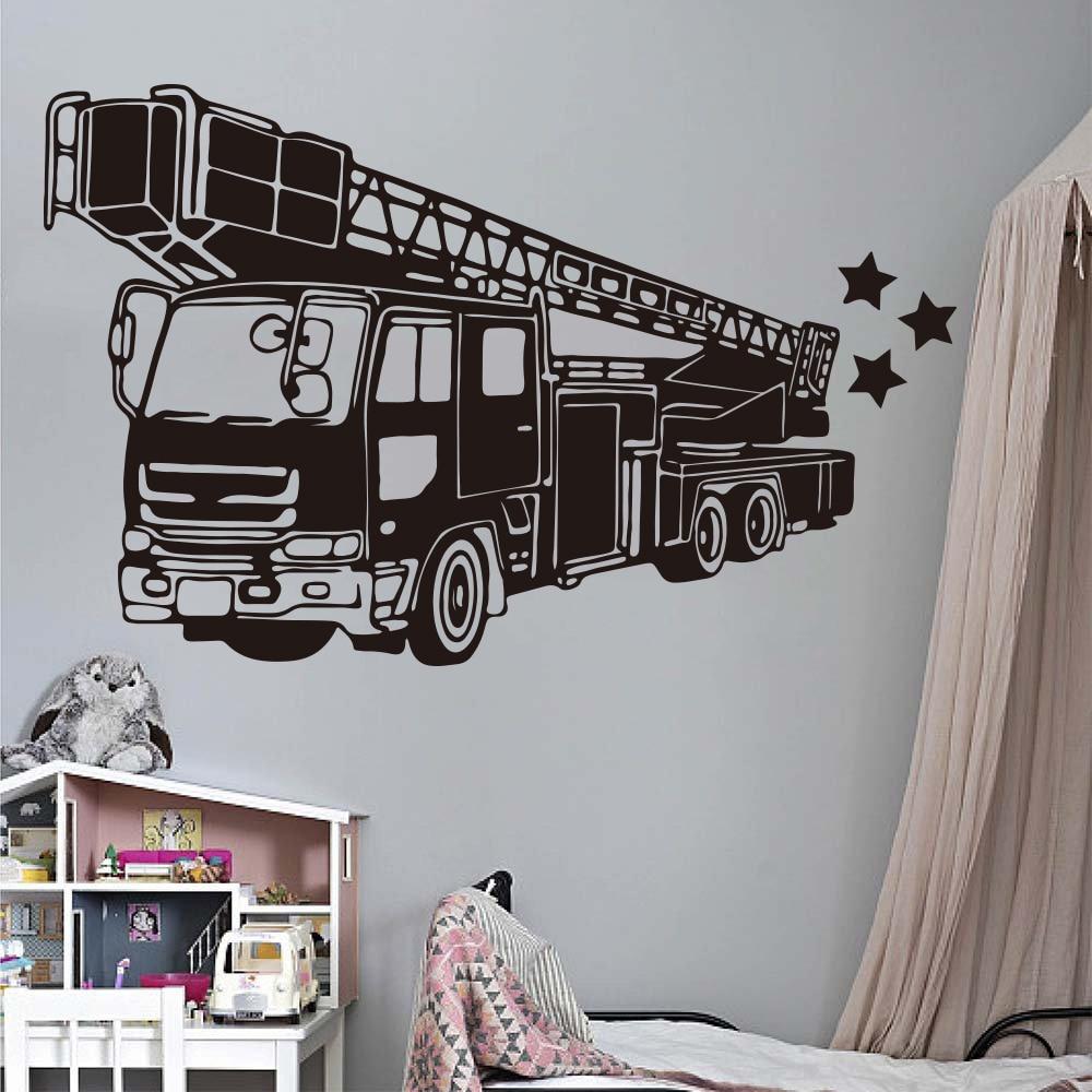 Samochod pożarniczy strażak naklejki ścienne dla dzieci pokój dekoracja sypialni wóz strażacki Hydrant samochodów pojazd naklejka salon J218