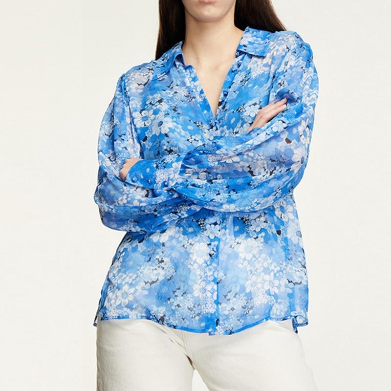 2021 الربيع و الصيف جديد التلبيب بأكمام طويلة واحدة الصدر الأزهار طباعة عادية طويلة الأكمام قميص المرأة