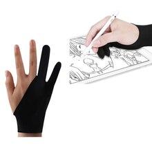 두 손가락 아티스트 안티 터치 장갑 그리기 태블릿에 대 한 오른쪽 및 왼쪽 손 장갑 안티-파울 링 ipad 화면 보드