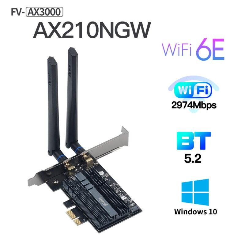 fenvi 3000Mbps Dual Band Wireless Network Card Wi-Fi 6e Intel AX210 WiFi Adapter AX210NGW 802.11ac/ax Bluetooth 5.2 For Desktop