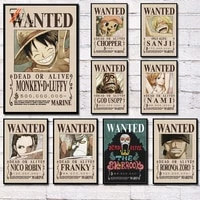 Luffy     affiche de dessin anime retro  une piece  peinture sur toile et imprimes  Cuadros  decoration murale  pour chambre denfant