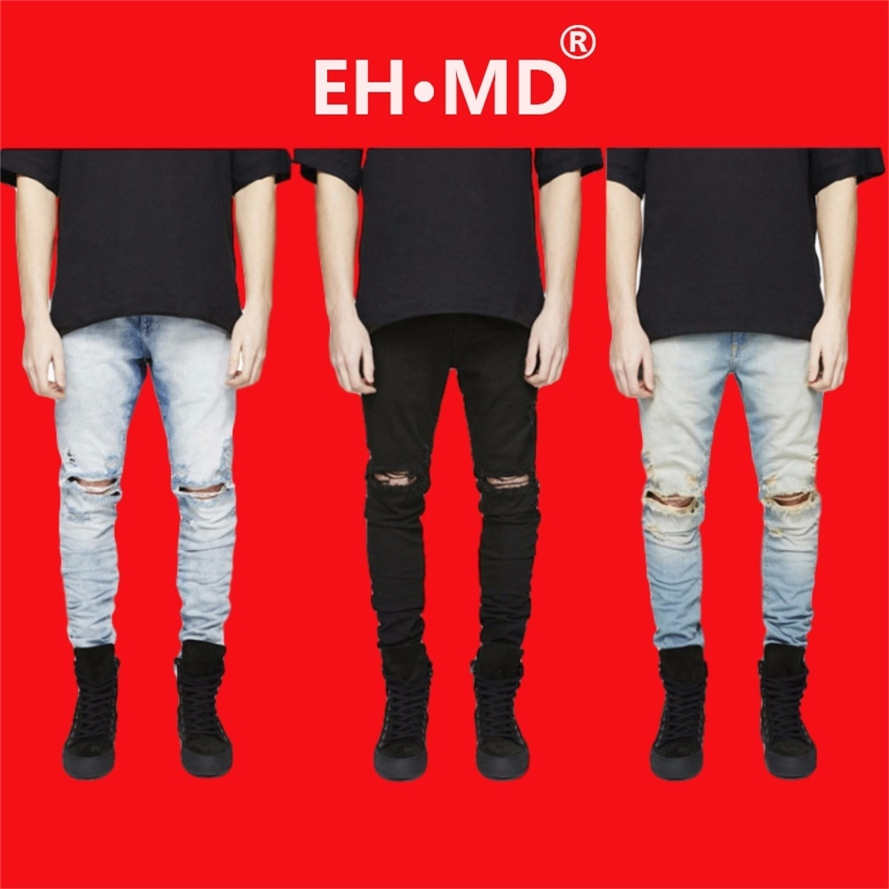 EH·MD® Ripped Knee Jeans Men's Hole Pocket Cotton High-Stretch Skinny Pencil Pants Breathable Thin Comfortable Solid Color 2020