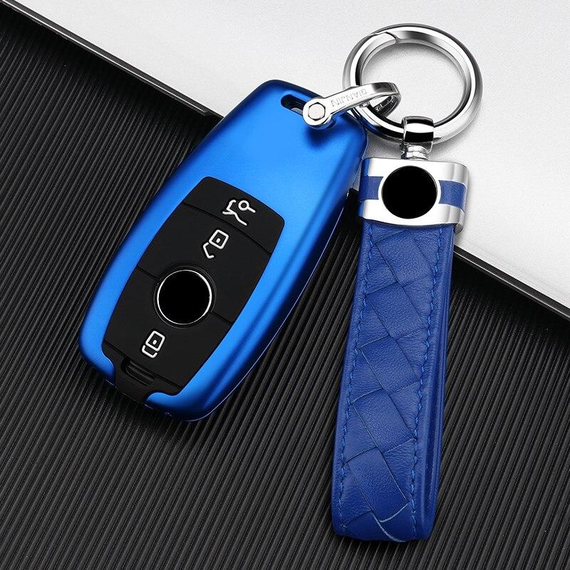 For Mercedes-Benz E-Class C-Class C260L A200L GLC Aluminium Alloy Silicone Car Key Case Cover Key Chain Key Bag Shell Protector enlarge