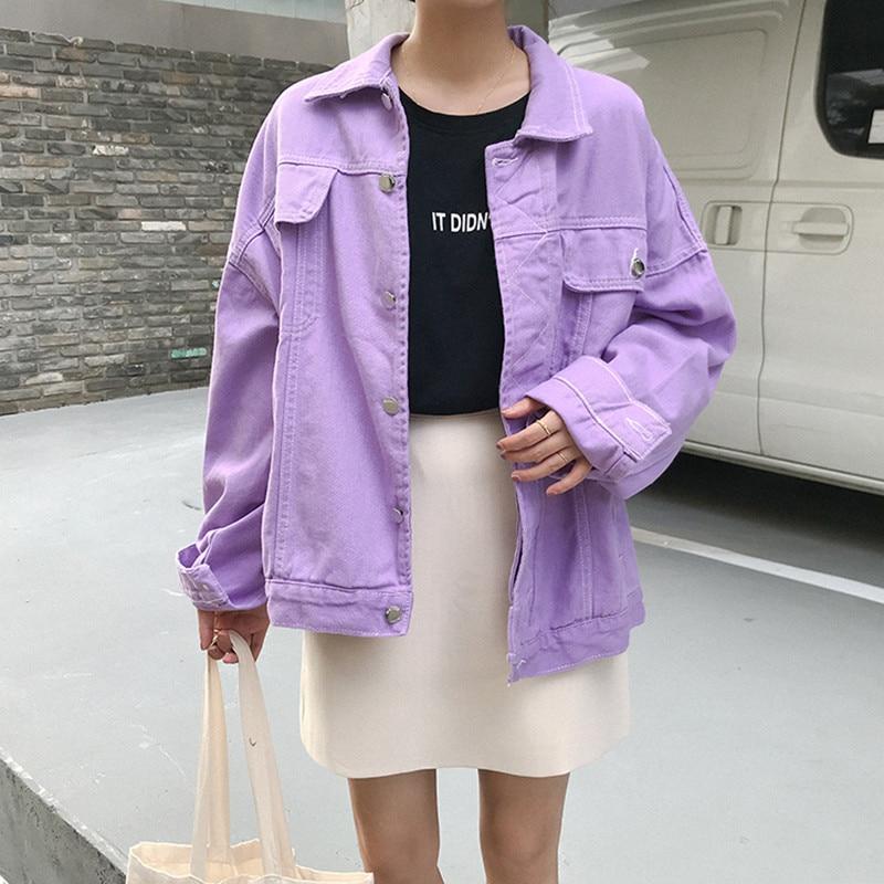 NEW Autumn Harajuku Casual Women Jacket Oversized Loose Purple Denim Jacket Preppy Style Basic Coat