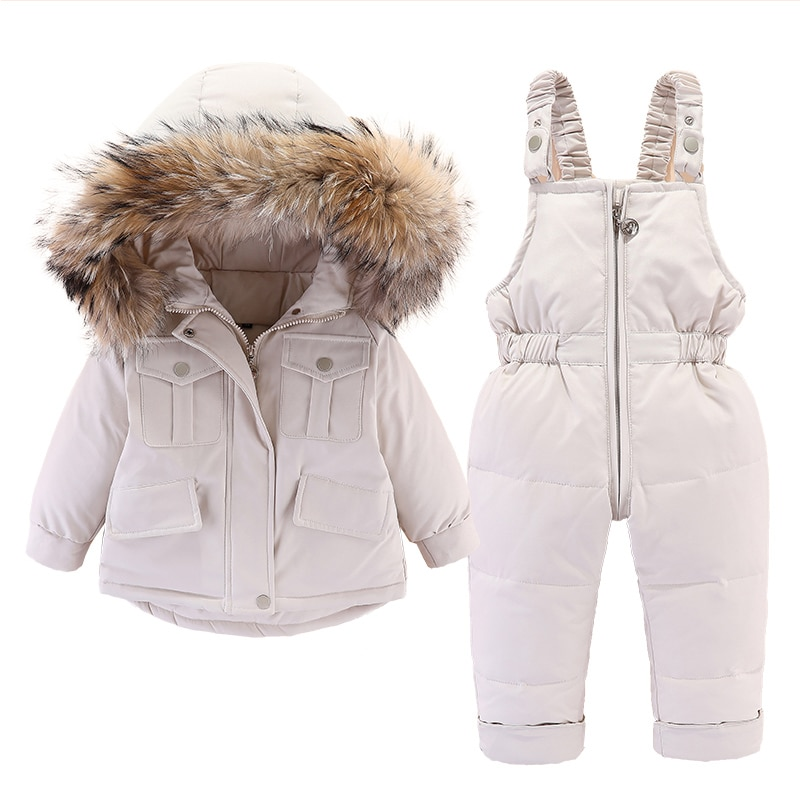 2pcs Set Baby Girl winter down jacket and jumpsuit for children Thicken Warm fur collar jacket for g