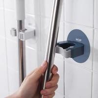 new durable mop clip waterproof mop storage hanger strong bearing capacity bathroom mop rack storage holders free punch toilet