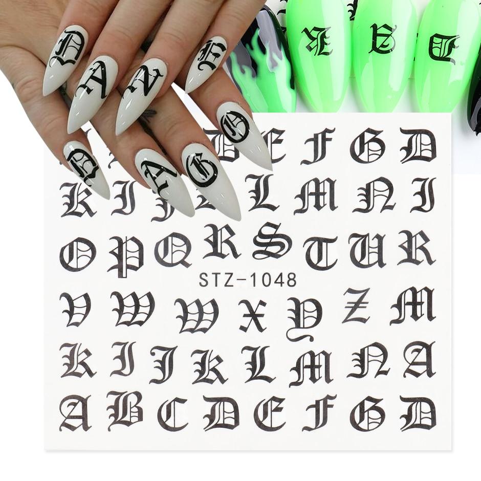 Abc Brief Decals Nail Art Stickers Engels Oude Lettertype Zwart Nummer Tattoo Nail Design Water Sliders Manicure Wraps CHSTZ1046-1049