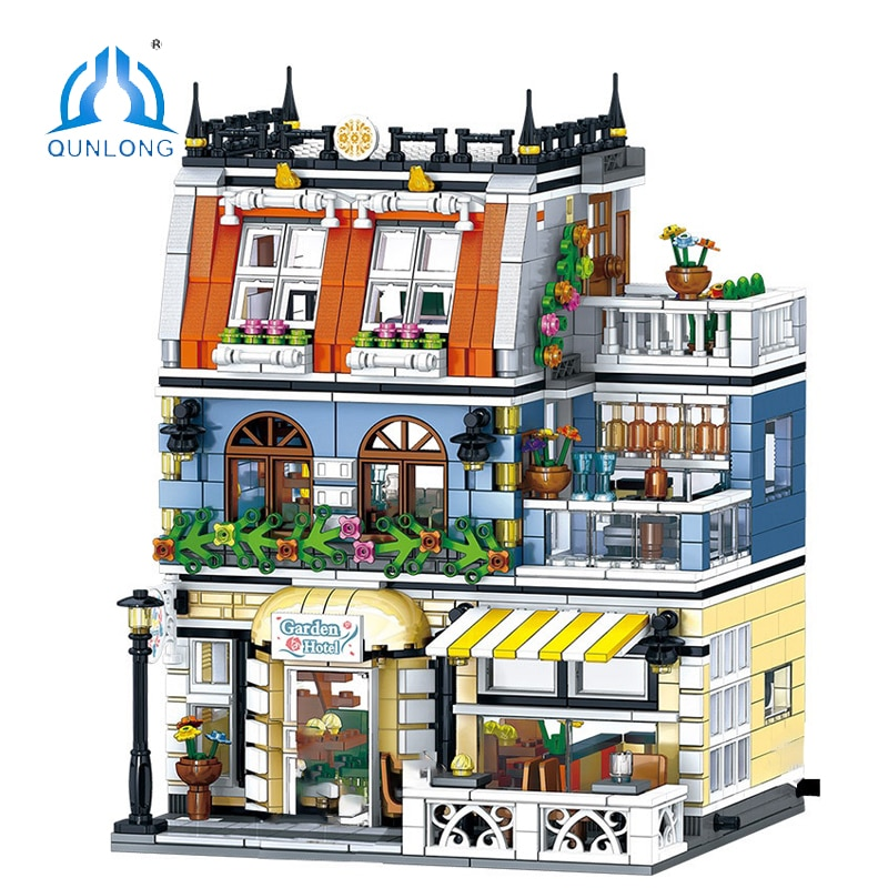 QUNLONG City Buildings Sets Friends For Girl House Hotel Architecture Building Blocks Bricks Street View Toys Children