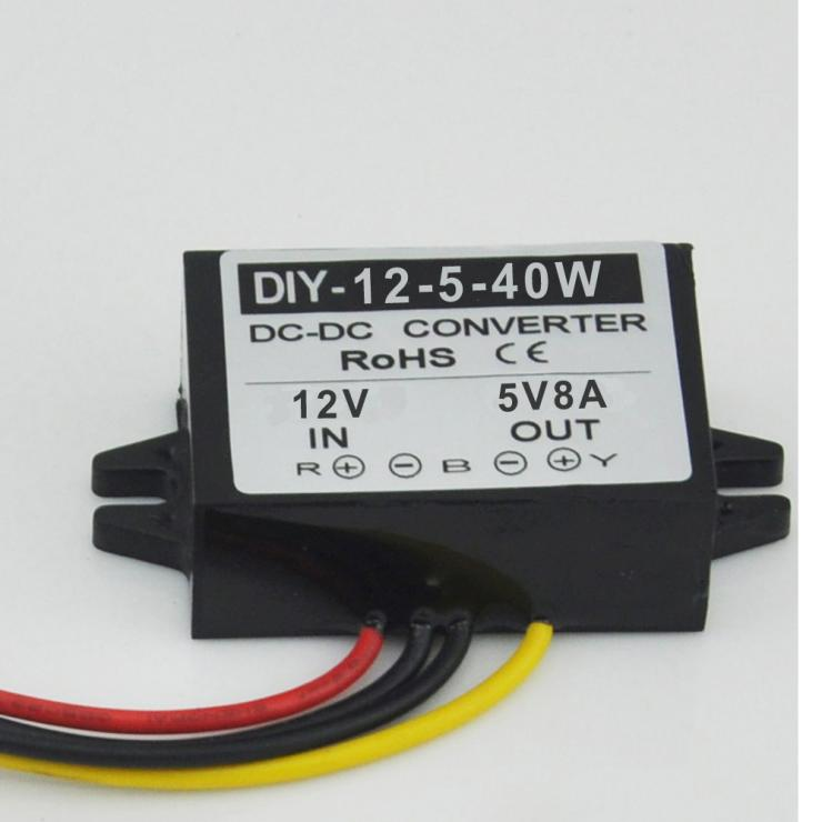 12V reductor 5V 8A 40W potencia convertidor LED pantalla de coche fuente de alimentación regulador de voltaje impermeable DC-DC módulo Buck