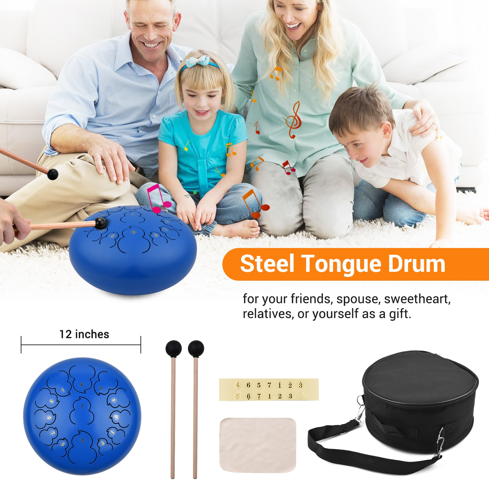 12-inch 13-Tone Steel Tongue Drum D Key Percussion Instrument Hand Pan Drum with Drum Mallets Carry Bag Music Book