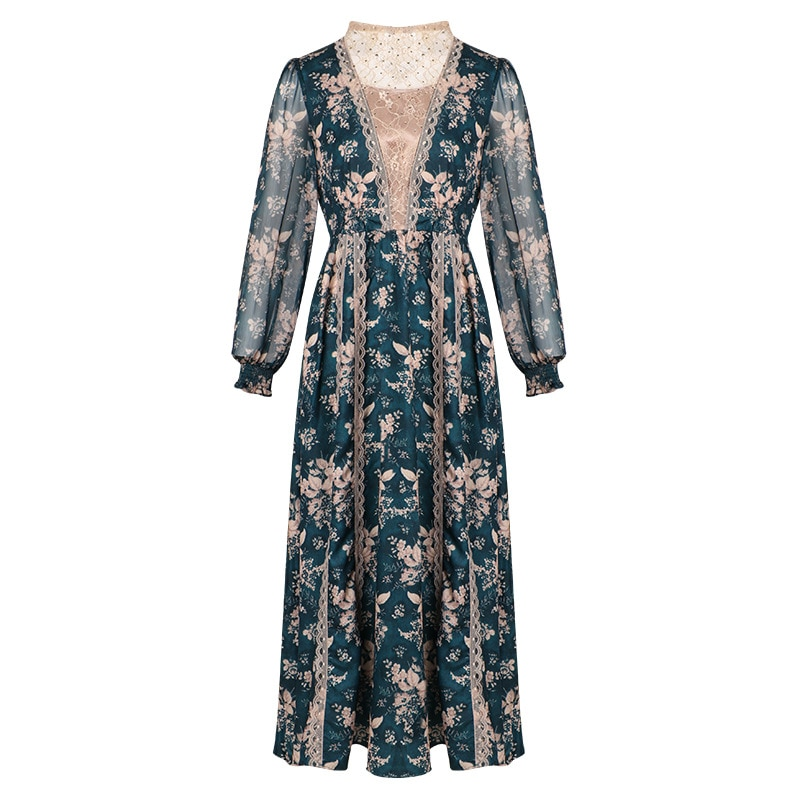 Temperament dress 2020 spring new palace bubble sleeve lace splicing medium long sleeve O-Neck collar Dress