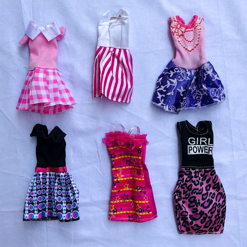 Newest High Quality Cute Mini Doll Clothes Dress Shoes Hangers Fashion Wear Outfits For Barbie Game Girl' DIY Birthday Present