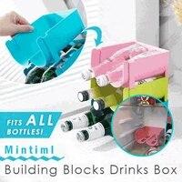 mintiml building blocks drinks box 2 slots kitchen refrigerator organizer beer wine bottle storage rack wine holder space saving