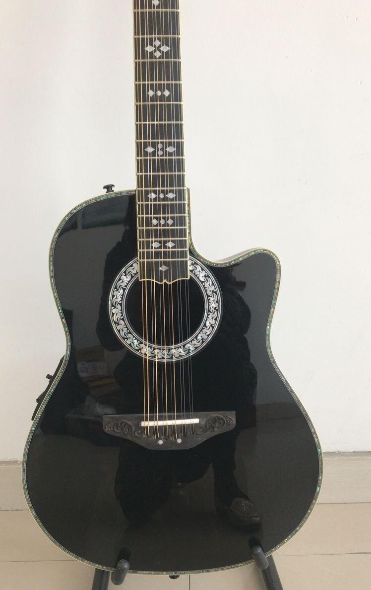 Guitarra acústica de 12 cuerdas, 100% con incrustaciones de abalón real, guitarra eléctrica acústica de 12 cuerdas, carcasa trasera de tortuga de plástico compuesto