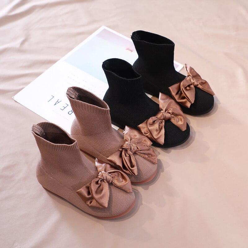 Meias sapatos childen inverno voar tricô crianças botas fishion princesa neve botas adorável arco cor pura preto e cáqui sx234