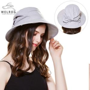WELROG New Big Bow Bucket Hats Outdoor Travel Climbing Visor Caps for Women Foldable Flat Top Cap Sun Shading Wide Brim Hats