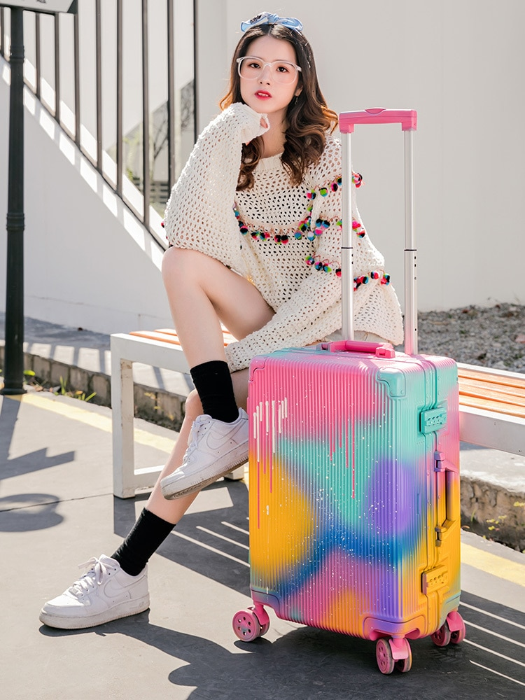 Doodle Personality Aluminum Frame Travel Box 20/24/28 Inch Will Capacity Pull Rod Box Woman Universal Wheel Trunk Male