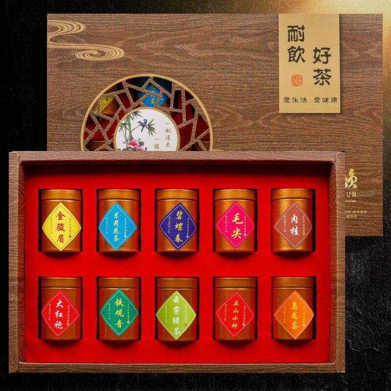 مجموعة من 10 أكياس شاي عضوية شهيرة في الصين ، شاي جين جون مي ، ربطة عنق كوان ين ، شاي أخضر ، شاي أولونغ ، هدية طعام صحي طبيعي