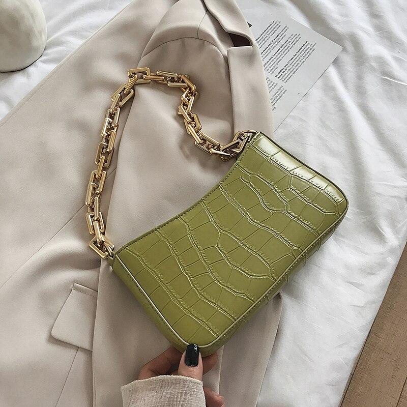 Designer Summer Stone Pattern Leather Armpit Shoulder Bags for Women 2021 Solid Color Chain Female T