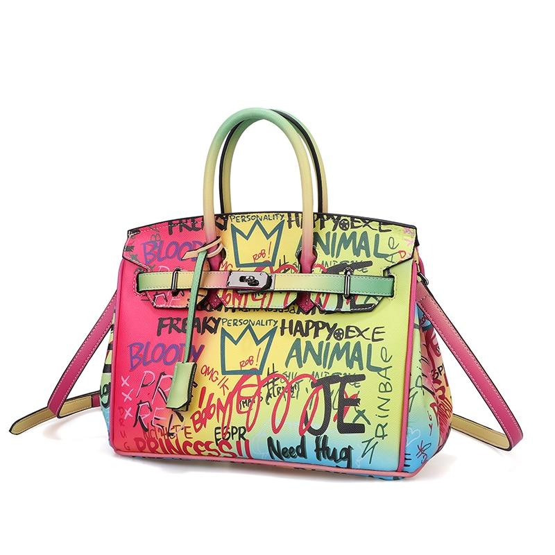 Mode Marke Graffiti Casual Tragetaschen Für Frauen Regenbogen Farbe Luxus Handtaschen Designer Schulter Tasche Damen Geldbörsen und Handtaschen