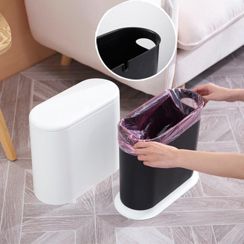 Large Capacity Trash Cans Kitchen Toilet Garbage Bag Holder Narrow  Oval Rubbish Bin Press-Type Bedroom Waste Bin Office Dustbin enlarge
