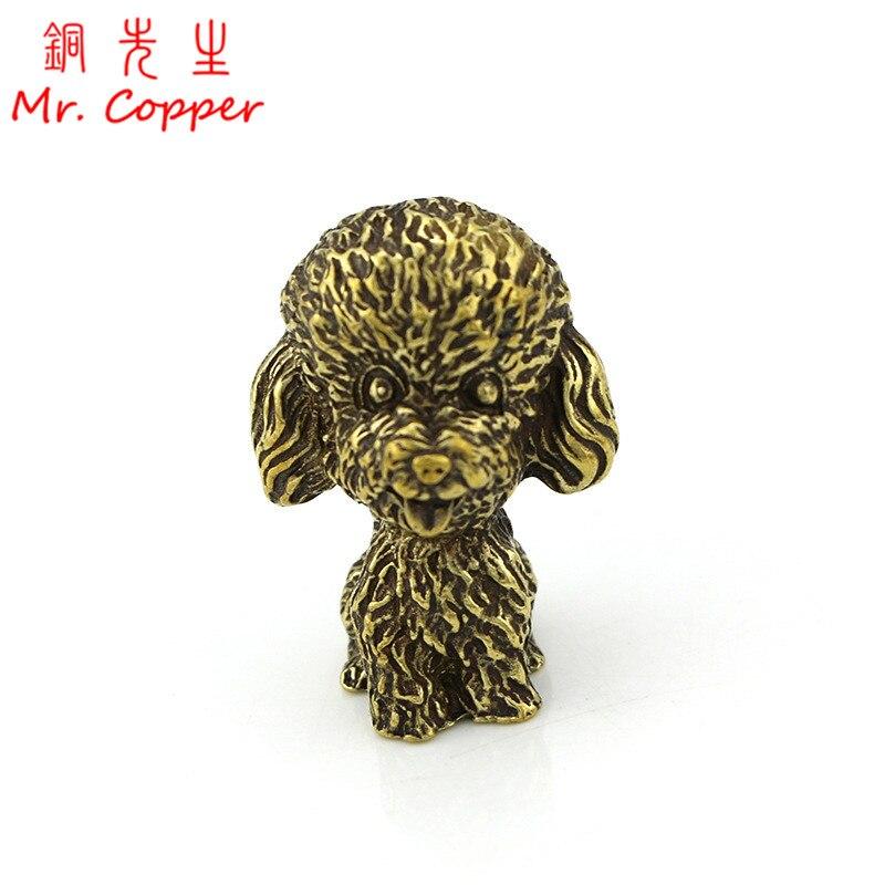 Adornos de Poodle de cobre Vintage latón antiguo Animal perro estatua estatuillas Oficina escritorio decoración té mascota Hogar Accesorios