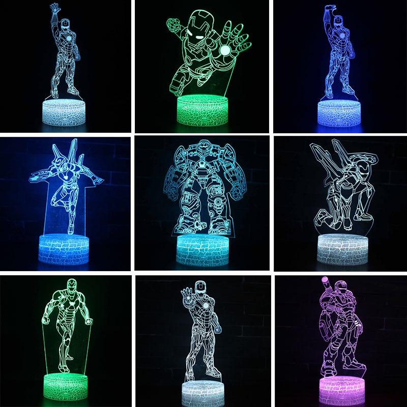 figura do homem de ferro da marvel 3d de led luz noturna dos vingadores armadura