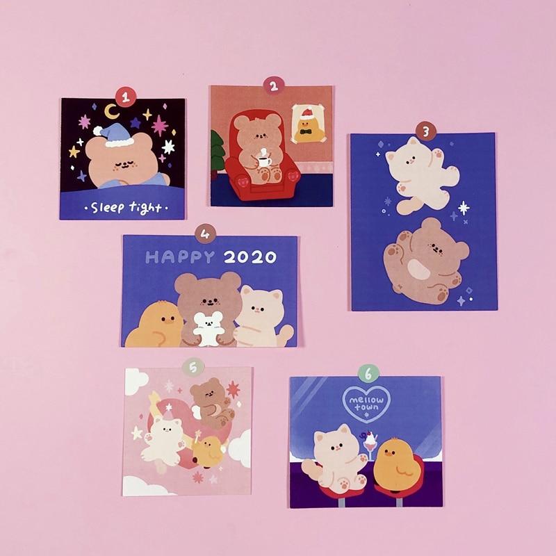 Pegatina de tarjeta de oso dulce 2020, postal de estilo INS, pegatina de decoración de pared de dibujos animados para dormitorio, divertido regalo de papelería para niños