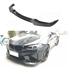 2 Series Carbon Fiber / FRP Front Bumper Lip Chin Spoiler For BMW F87 M2 2016-2019 V Style Bumper Guard Car Tuning Parts