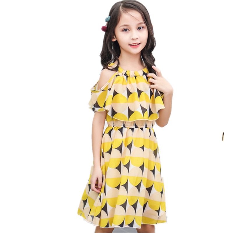 Vestido de verano para niñas, flor de Gasa, vestido de fiesta de princesa 8 9 10 11 13 años, ropa para niñas pequeñas y adolescentes