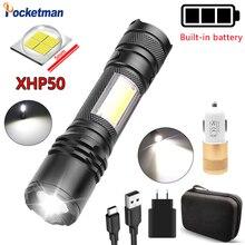 XHP50 lampe de poche LED Camping lumière COB lampe de travail stylo lumière télescopique Zoom avec lumière latérale puissante USB batterie Rechargeable